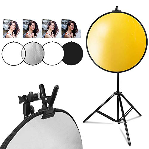 LimoStudio 32quot 5in1 Disc Reflector 5 Colors White Black Silver Gold Translucent Photo Studio Light Stand Clamp Clip Holder Light Stand Mount Bracket with Umbrella Reflector Holder AGG2914
