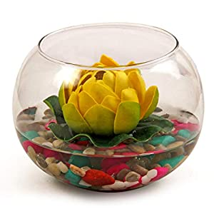 TiedRibbons Round Glass Vessel with Faux Lotus and Natural Stones Artificial Flowers for Home Decoration and Gifts