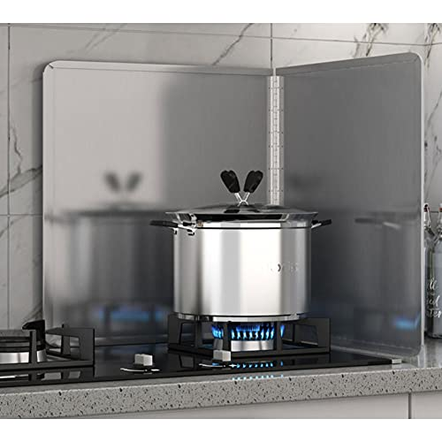 Aluminum Foil Splash Board Kitchen Anti Splatter Shield Guard Stove Cooking Frying Protector Large Insulated Anti Splatter Shield Guard, Spatter-Proof Oil Barrier High Temperature Resistant Alum