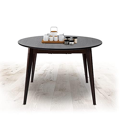 Esszimmertisch Küchentisch Ausziehbar Esstisch Walnuss Ausziehtisch Erweiterbare Auszugsplatte Tisch mit Einlegeplatte Massivholz für Esszimmer 1000 +300 x 1000 x 750 mm Modell Orion Plus