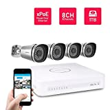 Foscam 8CH xPoE 720P Security CCTV Surveillance System, Simplified Power Over Ethernet NVR KIT, Pre-Installed 1TB HDD, 4 720P HD Outdoor IP66 Waterproof IP Camera, 65FT Night Vision, FN3108XE-B4-1T