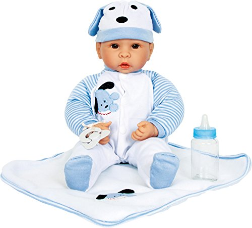 """Small Foot Company Niedliche Baby-Puppe """"Benno"""" mit viel Zubehör ( Decke, Mütze, Strampler und Flasche) und fein gezeichnetem Gesicht, wirkt besonders echt"""