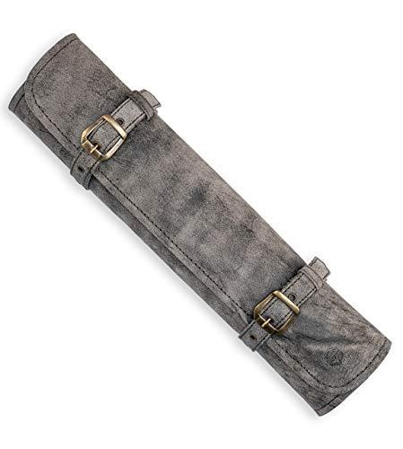 Funda de piel para cuchillos de chef, rollo de cuchillo de chef de piel auténtica, bolsa de cocina con cierre Sam (antiguo)