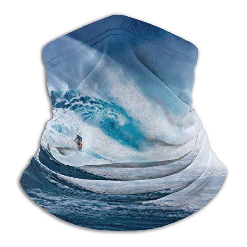Lawenp Surfer On Blue Ocean Wave Calentador de microfibra unisex para la cara Pañuelo para el cuello, a prueba de viento Protección solar UV Bufanda de tela reutilizable Pasamontañas