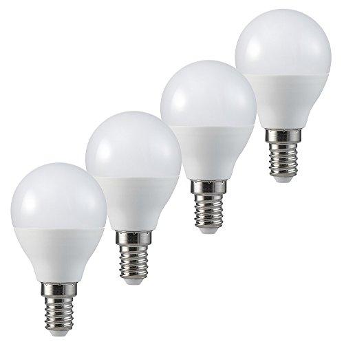 MÜLLER-LICHT LED Tropfenform Ersetzt 40 W, Plastik, E14, 5.5 W, Weiß, 4er Set, 4 Einheiten