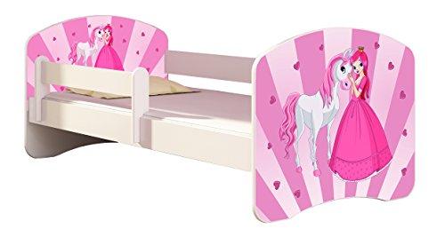 Letto per bambino Cameretta per bambino con materasso Cassetto ACMA II (08 La principessa con il pony, 140x70)
