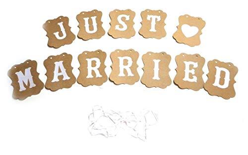 Just married Girlande Love Vintage Rustikal mit weissem Schriftzug Hochzeitskette (Classic)