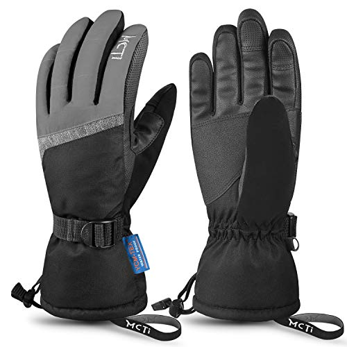 MCTi Ski Gloves,Winter Waterproof Snowboard Snow 3M Thinsulate Warm Touchscreen Cold Weather Women Gloves Wrist Leashes Grey Large