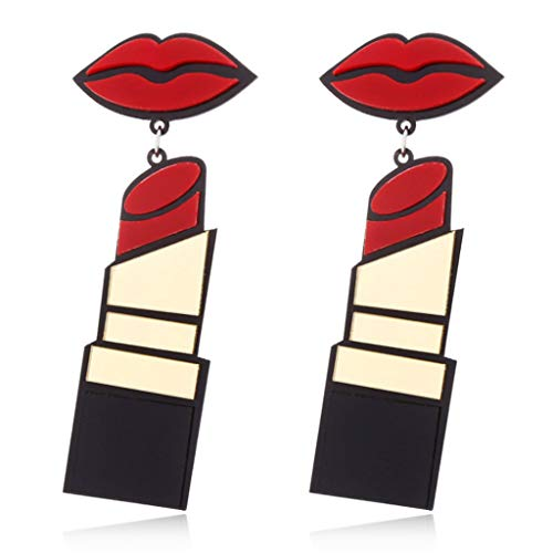Guoyy Acryl Ohrringe Frauen Schmuck Lip Lippenstift Punk Style Baumeln Mode Lange Tropfen
