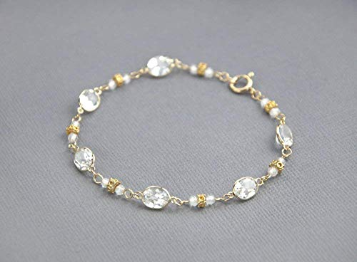Dainty Gold Pink Opal Chain Bracelet for Women 7.25 inches LLD Jewelry
