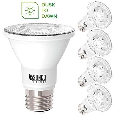 Sunco Lighting 4 Pack PAR20 LED Bulb, Dusk-to-Dawn Photocell Sensor, 7W=50W, 4000K Cool White, 500 LM, Auto On/Off Security Spot Light - UL & Energy Star Listed