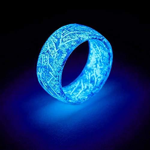 Sinnper Luminous Glow Ring Glowing In The Dark Jewelry Unisex Decoration for Women Men(blue,7)