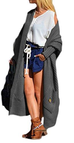 Damen Strickjacke Pullover Cardigan Langarm Oversize NEU 36 38 40 S M L (658) (Graphite)