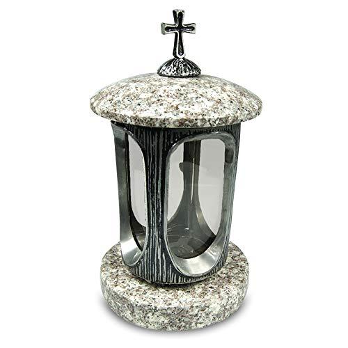 Vershy Grablaterne Silber mit Granit Sockel Grabschmuck Stilvolle Granitlaterne Elegant Granit Weiss Höhe 28 cm/Ø 15 cm Grablampe Grablicht Grableuchte Grablampe