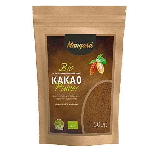 Mangara® Bio Kakaopulver 500 g, stark entölt, (10/12{9c7b31db925e26f1e4f4b3818ca404b94ff85398d723c054ca27add4ebf709f6} Fett), ohne Zucker, Vegan, Laktosefrei, ohne Zusatzstoffe, allergen- und glutenfrei, (DE-ÖKÖ-039) zertifiziert