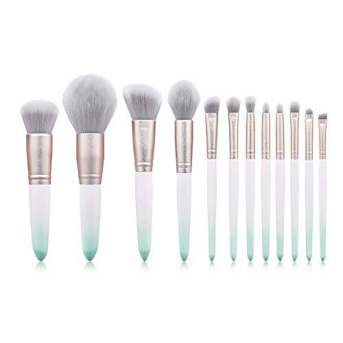 Set De Maquillage Brosse 12 Pièces Professionnel Fondation Liquide Ombre À Paupières Crayon À Sourcils Pinceau De Maquillage Set X-03 Dégradé Vert