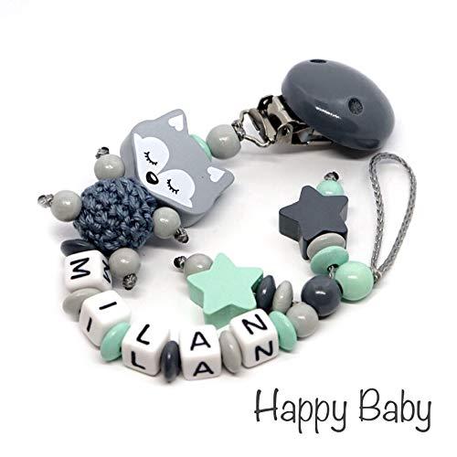 Schnullerkette mit Namen für Junge & Mädchen | VIELE INDIVIDUELLE MODELLE | Personalisierte Nuckelkette mit Wunschnamen (Fuchs schlafend-grau-mint-stern)