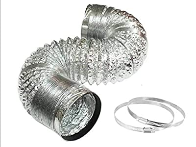 6 Inch Dryer Vent Hose,9.84FT Long Aluminum Ducting for HVAC Ventilation, Flexible Air Duct Hose for Ac Exhaust, Kitchens,Grow Tent,Green Houses, 2 Clamps Include