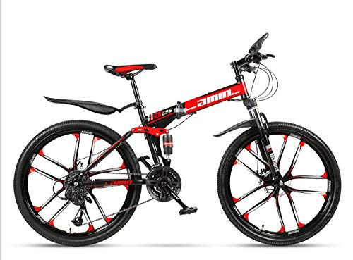 COUYY Double Shock 26 inches red Ten Round Knife Folding Mountain Bike Double disc Mountain Bike Bicycle Adult Male and Female Students,30 Speed