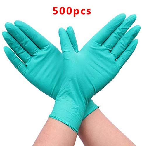 Guantes Desechable Nitrilo sin polvo, en Small, Medium, Large Caja 500 Unidades (M, Azul)