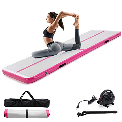 Smile Back 10ft Air Inflatable Track Gymnastics Tumbling Mat Airtrack Gymnastics Mats 4'' Thickness for Adults Home/Outdoor/Training/Cheerleading/Yoga/Water with Electric Pump Pink/Blue/Green (PINK)