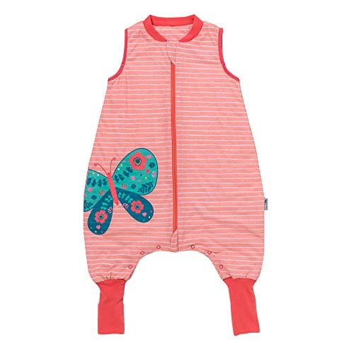Schlummersack PREMIUM Schlafsack mit Füßen und verlängerten Bündchen zum Umklappen leicht gefüttert in 1.0 Tog - Schmetterling - 70cm mit Druckknöpfen an den Beinen für eine Körpergröße von 70-80 cm