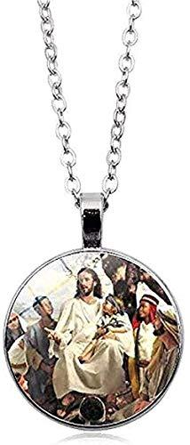 CCXXYANG Co.,ltd Collar Virgen María Madre del Bebé Collar Jesús Cristiano Colgante Católico Religioso Cristal Collar De Jesús
