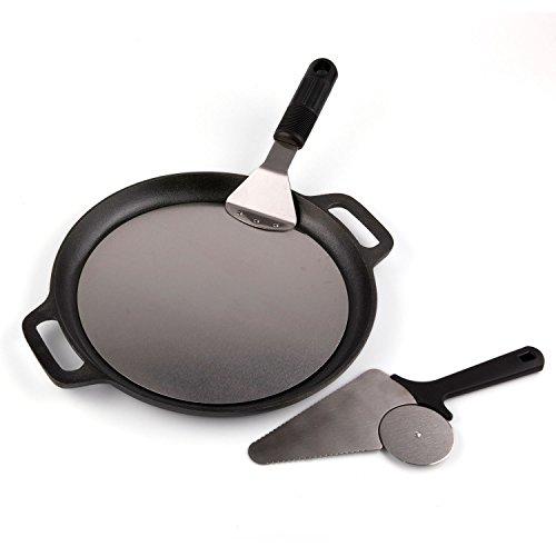 "Waykea Baking Pizza Pan Set of 3, 12"" Cast Iron Pan + 10"" Stainless Steel Pizza Peel + Pizza Cutter"
