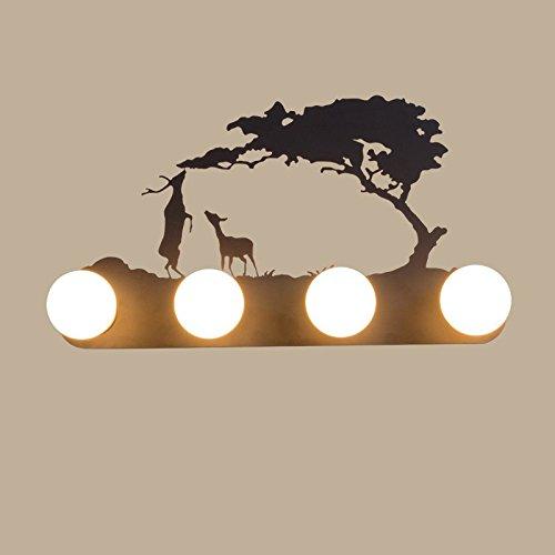 Retro mur industriel lampe lumière, le salon la chambre baignoire personnalité couloir avant miroir lampe avec ampoule, 60×30cm, deux cerfs,5 Watts ampoule LED avec lumière chaude