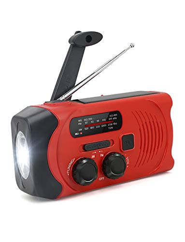 防災ラジオ 手回しラジオ 緊急用 AM/FM対応 2000mAh ソーラー充電 USB充電 多機能 ラジオライト 小型 軽量 震災 津波 台風 停電 防災対策 (3WAY充電可能・IPX63防水 グリーン) (レッド)