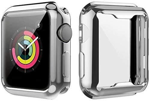 YaMiDe Apple Watch Series 3ケース ソフト タッチTPU時計ケース 99%高透光率 薄型 超軽量 指紋防止 全面保護 耐衝撃カバー 傷に強い 完璧なフィット感ウォッチシリーズ3(38mm) メッキフレーム金属の質感 多色オプション