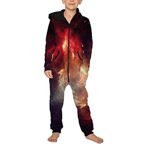 Jumpsuit Jogger für die Ganze Familie, Morbuy Unisex Junge Mädchen Kapuzenpullover Strampelanzug 3D Sternenklarer Himmel Printed Onepiece Sweatshirt Strampler Nachtwäsche (M(135-140cm),Rt)