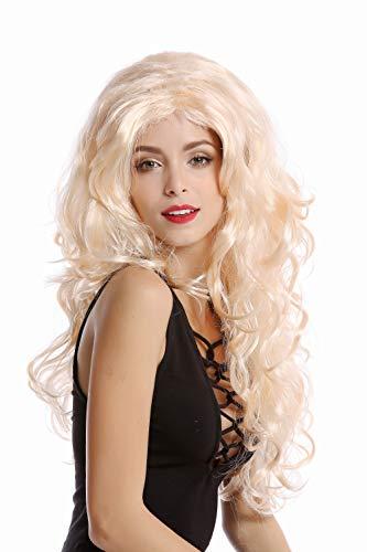 WIG ME UP - 70631-P02 Perücke Damen Karneval Fasching blond Lockenpracht üppiges Volumen hellblond Mittelscheitel 60 cm