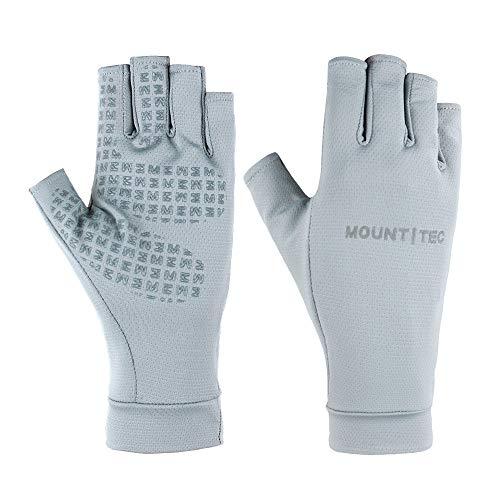 Mount Tec Unisex Leichte UV-beständige fingerlose Handschuhe, LSF 50+, weich, atmungsaktiv, Outdoor-Schutzhandschuhe, rutschfest (grau, klein)