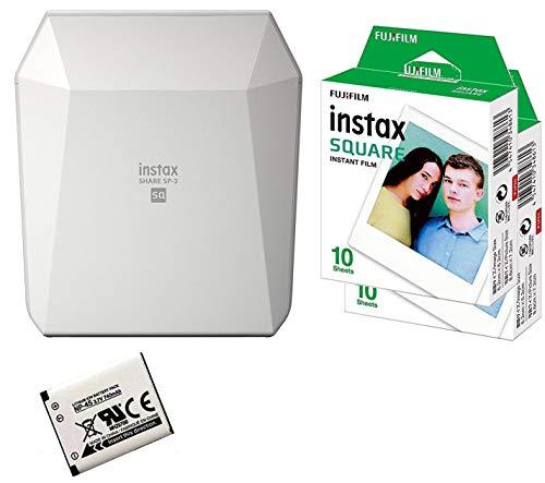 Allcam Fuji SP-3 Printer Bundle Smartphone WiFi Portable Instant Photo Printer + 20 Instax Square Prints + Spare NP-50 Battery - White