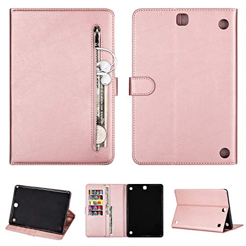 SEEYA Tablet Case for Samsung Galaxy Tab A 9.7 SM-T550 PU Leather Tablet Magnetic Clasp Protective Case Wallet Smart Zipper Flip Cover with Stand Card Slots Rose Gold