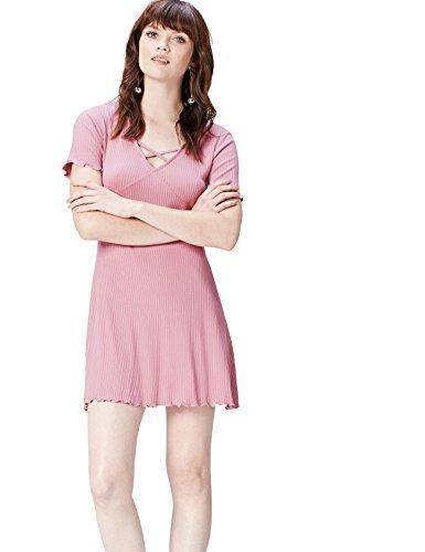 find. Kleid Damen gerippt, mit Rüschen an Ärmeln und Saum Rosa (Old Rose), 38 (Herstellergröße: Medium)