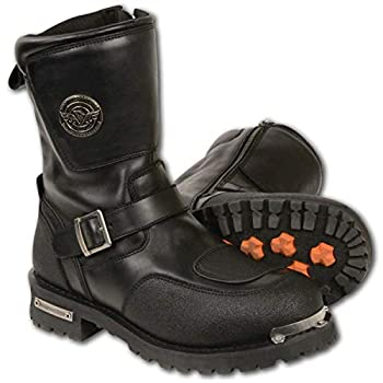 Milwaukee Leather MBM9070 Men s Black Engineer Boots with Reflective Piping and Gear Shift Protection - 11.5