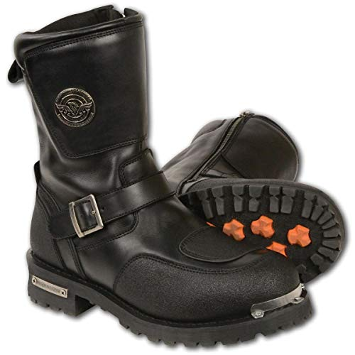Milwaukee Leather MBM9070 Mens Black Engineer Boots with Reflective Piping and Gear Shift Protection - 15