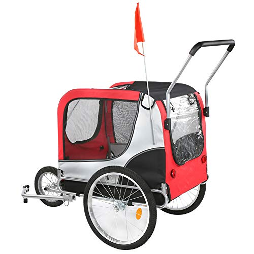 Ausla Dog trailer, bicycle dog trailer, 2 in 1 children's trailer, jogger bicycle trailer, with 3 wheels, super large space, carrying approx. 40 kg