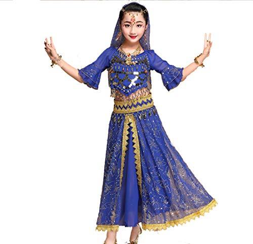 ZYLL 7 Pezzi Paillettes Ragazze Bambini Danza del Ventre Costume Bollywood Indiano Vestito da Ballo Danza Abbigliamento Sala da Ballo Festa in Scena Abiti da Ballo Insieme,Blue,XL