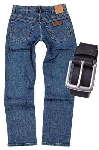 Wrangler TEXAS STRETCH Herren Jeans Regular Fit inkl. Gürtel (W44/L34, Stonewash)
