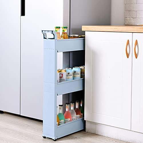 XGJJ Estantería de pie con 3 niveles de almacenamiento delgada, organizador de estanterías móviles, almacenamiento deslizante, estante para carrito de cocina, baño, estantes duraderos y cajones