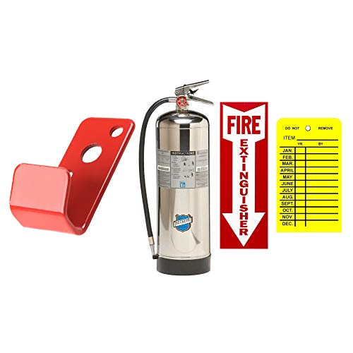 Water Extinguisher Refillable UL/ULC Rated Stainless Steel Pressurized 2.5 Gallon Type A Fire Extinguisher Buckeye with Wall Mount, Sign and Inspection Tag
