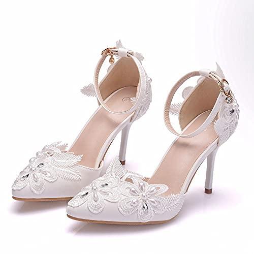 Zapatos De Novia, Sandalias De Gran Tamaño Con Punta Puntiaguda De Tacón Alto De 9 Cm, Tacones De Aguja De Boda Con Diamantes De Imitación De Encaje, Pulsera De Una Forma,Blanco,38EU