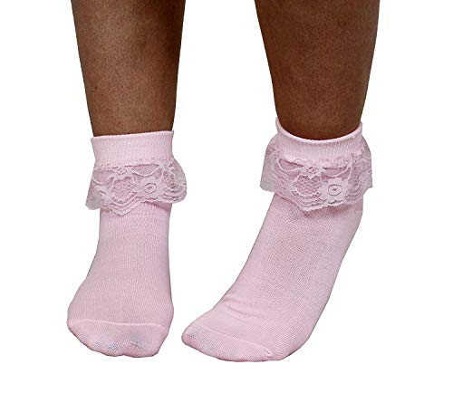 ADULT PINK BOBBY SOCKS - PINK FRILLED ANKLE LENGTH 50s SOCKS - 50s FANCY DRESS ACCESSORY - 1 PAIR