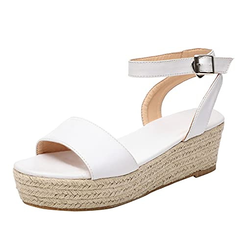 ZiSUGP Flip Flop Sandals Sandals For Women Platform Platform Sandals Heels For Women Clear Flat Sandals For Women Jelly Sandals(White,Size8)