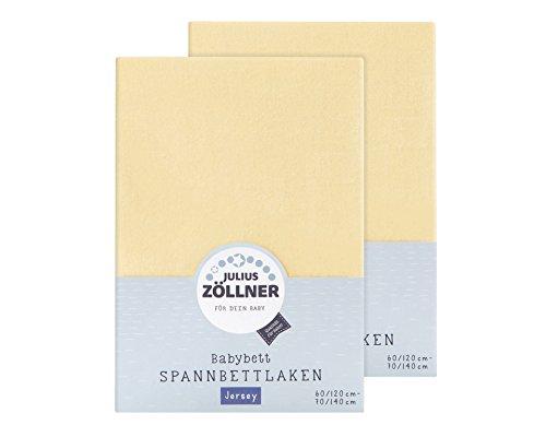 Julius Zöllner 8380347200 Jersey Spannbetttuch Doppelpack für das Kinderbett, Gr. 60x120 / 70x140, banana