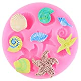 HHAA Molde De Silicona para Fondant 3D Seashell Starfish Conch Shell Shape DIY...