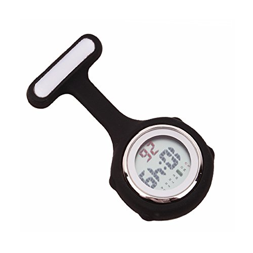 Fresh66 Digital Silikon Schwesternuhr Krankenschwesteruhr Pflegeuhr Taschenuhr (Schwarz)